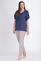 Женская летняя хлопковая синяя большого размера блуза БелЭкспози 1186 синий 50р.