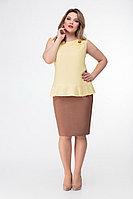Женская летняя льняная желтая блуза БелЭкспози 1188 желтый 46р.