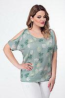 Женская летняя бирюзовая большого размера блуза БелЭкспози 1142 мята 48р.