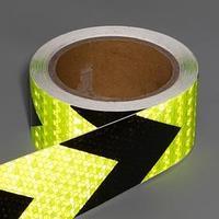 Светоотражающая лента, самоклеящаяся, черно-салатовая, 5 см х 10 м