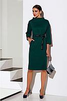 Женское осеннее трикотажное зеленое платье Lissana 4060 темный_изумруд 48р.