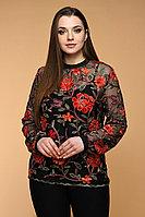 Женская осенняя кружевная черная блуза Медея и К 1901 черный 46р.