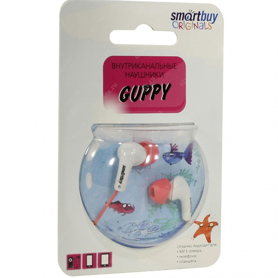 Наушники проводные пассивные SmartBuy GUPPY, розовые (SBE-420) / 240 - фото 2
