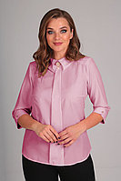 Женская осенняя розовая деловая блуза Таир-Гранд 62196-1 клевер 46р.