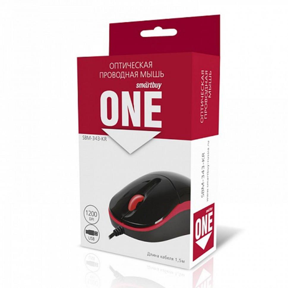Мышь проводная Smartbuy ONE 343 черно-красная (SBM-343-KR) / 100