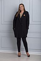 Женский осенний черный деловой большого размера жакет Anelli 482 черный 50р.