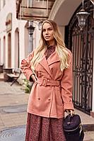 Женское осеннее драповое розовое пальто Vesnaletto 2439 44р.