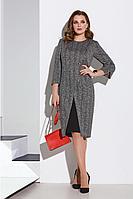 Женское осеннее трикотажное серое большого размера платье Lissana 4197 серый 52р.