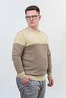 Мужской осенний вязаный джемпер Subota 26012 желтый-коричневый(170/176) 48р.