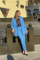 Женский осенний хлопковый голубой деловой деловой костюм Karina deLux B-364 небесный 50р.