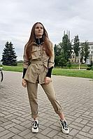 Женские осенние брюки Lady Smile 01б бежево-коричневый 42р.