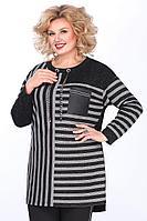Женская осенняя трикотажная черная большого размера блуза Matini 4.1165 56р.