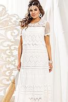 Женское летнее хлопковое белое большого размера платье Vittoria Queen 11003/1 62р.