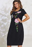 Женское летнее льняное черное платье Vittoria Queen 11773/1 48р.