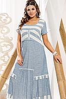Женское летнее хлопковое голубое большого размера платье Vittoria Queen 12303/1 64р.