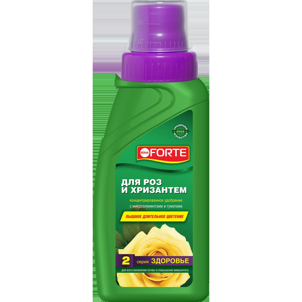 Bona Forte Здоровье Жидкое органо-минеральное удобрение Для роз и хризантем, флакон 285 мл