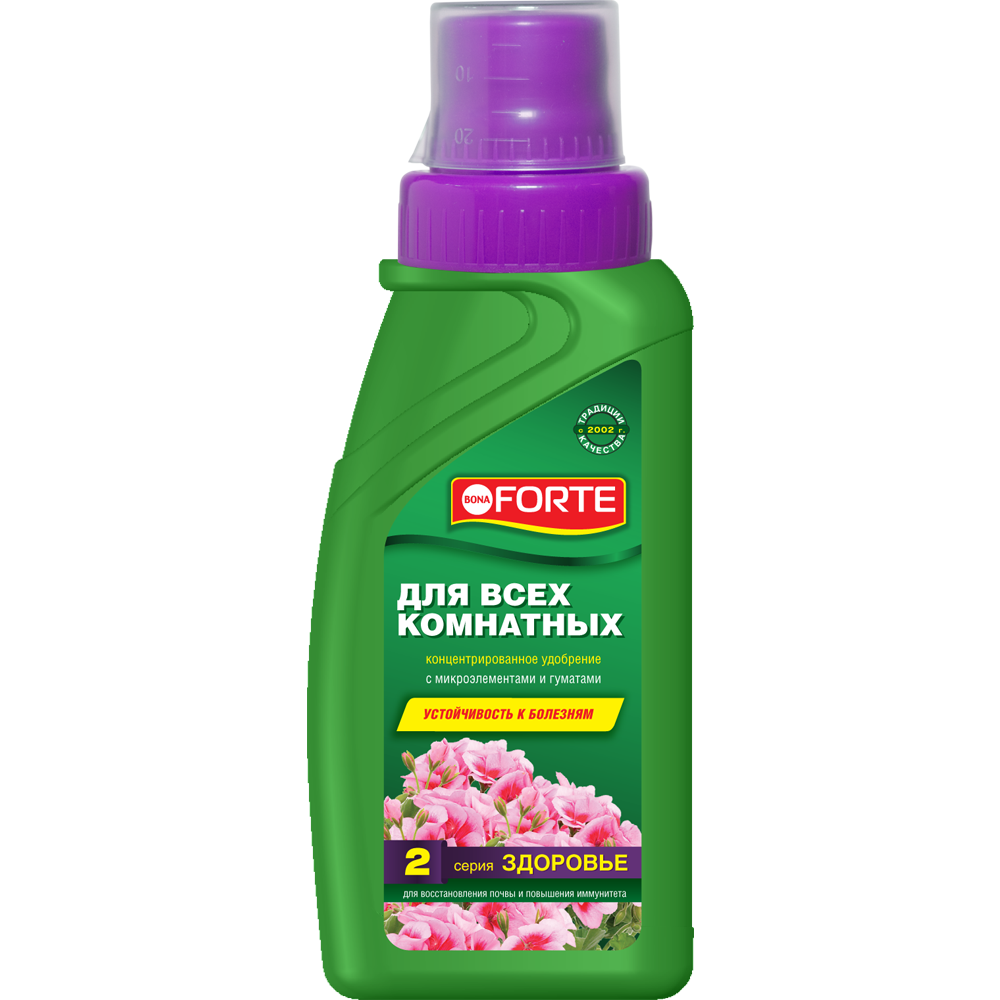 Bona Forte Здоровье Жидкое органо-минеральное удобрение Для всех комнатных растений, флакон 285 мл