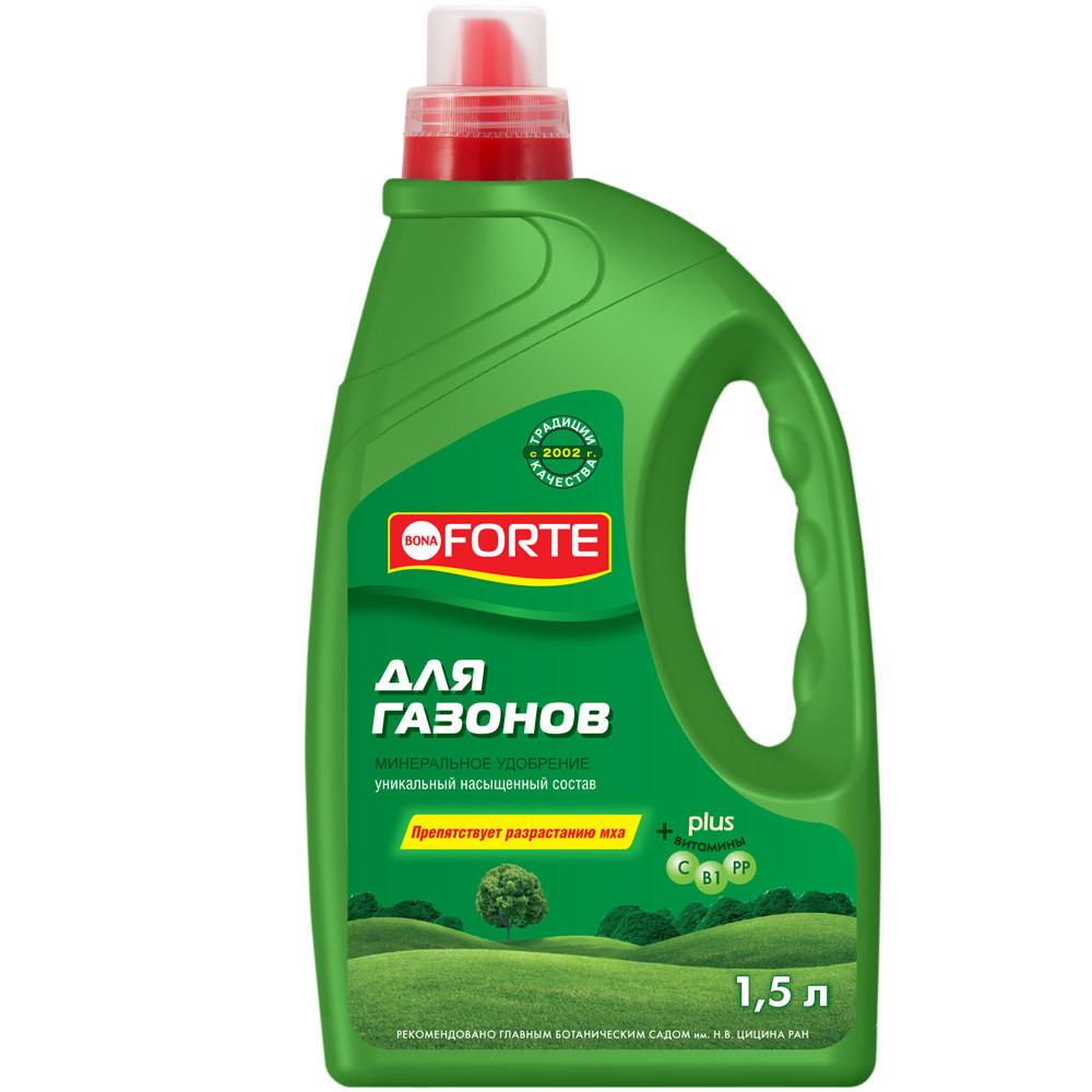 Bona Forte Жидкое минеральное удобрение Для газонов, канистра 1,5 л