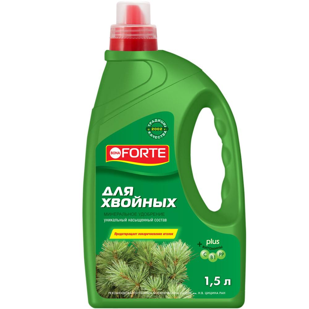 Bona Forte Жидкое минеральное удобрение Для хвойных растений, канистра 1,5 л