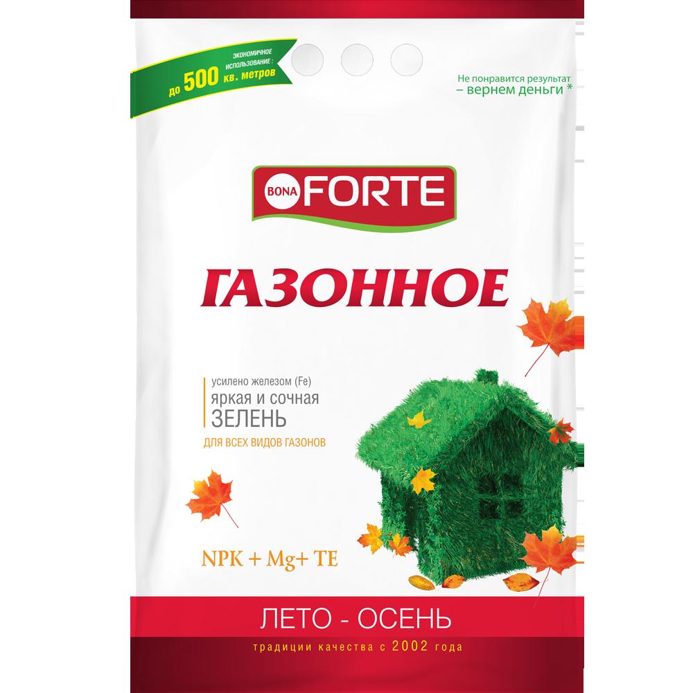Bona Forte Удобрение комплексное гранулированное с микроэлементами Газонное (осень), пакет 5 кг