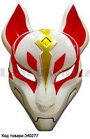 Маска Кицунэ японской демонической лисы с резинкой белая