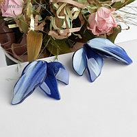 """Серьги пластик """"Стиль"""" листья, цвет синий"""