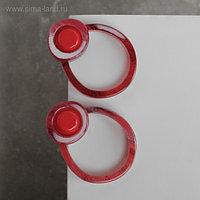 """Серьги пластик """"Стиль"""" круги двойные, цвет красный"""