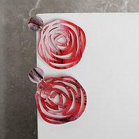 """Серьги пластик """"Стиль"""" роза, цвет красный"""