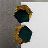 """Серьги пластик """"Комильфо"""", шестигранник, цвет коричнево-зеленый"""