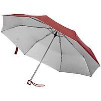 Зонт складной Silverlake, бордовый с серебристым, фото 1