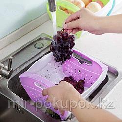 Пластиковая выдвижная корзина для мытья овощей и фруктов