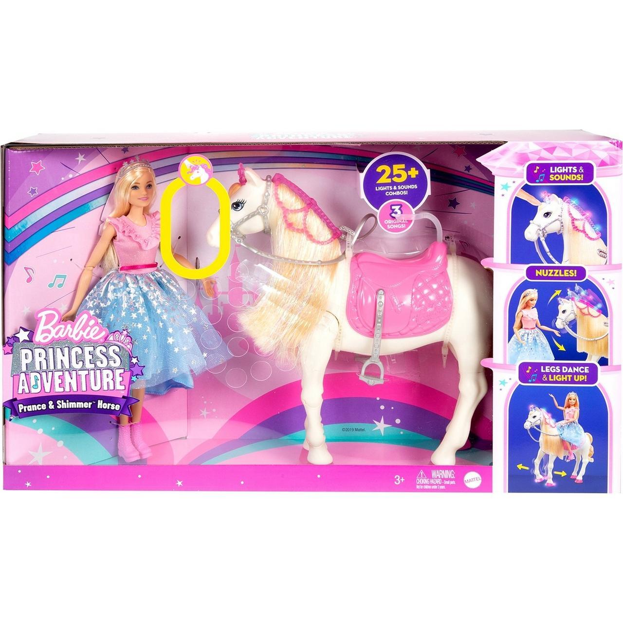 """Barbie Игровой Набор """"Приключения Принцессы"""" Сверкающая верховая лошадка Барби (свет, звук)"""