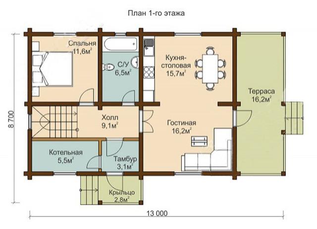 Дом из профилированного бруса с террасой, план двухэтажного дома и строительство под ключ, проектирование и строительство деревянных домов.