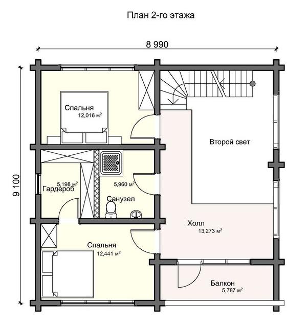 компактный дом с бассейном и сауной по индивидуальному проекту, план двухэтажного дома и строительство под ключ, проектирование и строительство деревянных домов.