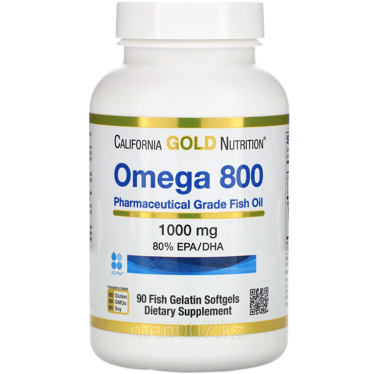 БАД Omega-3 800 фармацевтической степени чистоты, 80% ЭПК/ДГК, в форме триглицеридов (90 капсул)