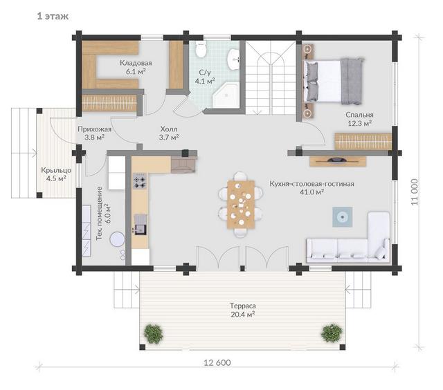 Проекты домов из бруса, план дома и строительство под ключ, проектирование и строительство деревянных домов.