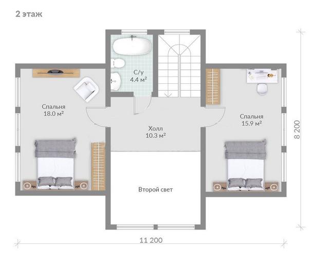 Проекты домов из бруса, план двухэтажного дома и строительство под ключ, проектирование и строительство деревянных домов.