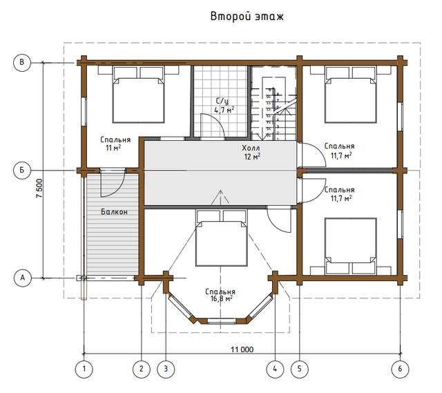 Проект дома из дерева, план двухэтажного дома и строительство под ключ, проектирование и строительство деревянных домов.