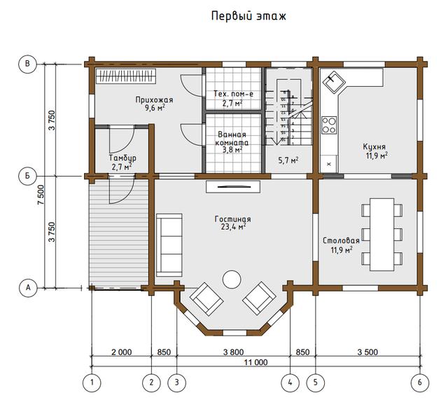 Проекты дома из дерева, план двухэтажного дома и строительство под ключ, проектирование и строительство деревянных домов.