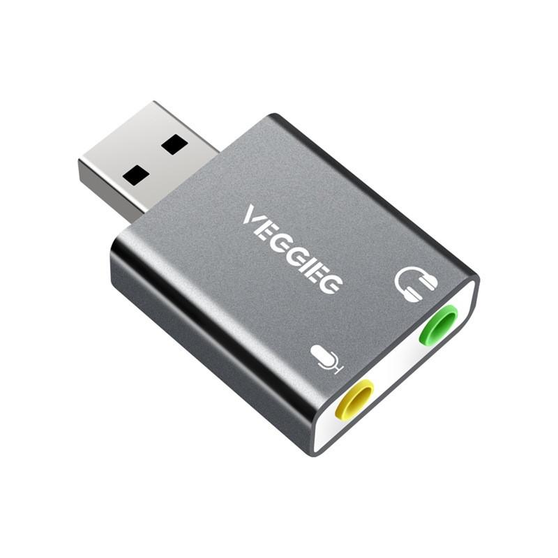USB звуковая карта VEGGIEG, USB - 3.5mm jack audio, двух портовая для ПК и Ноутбуков