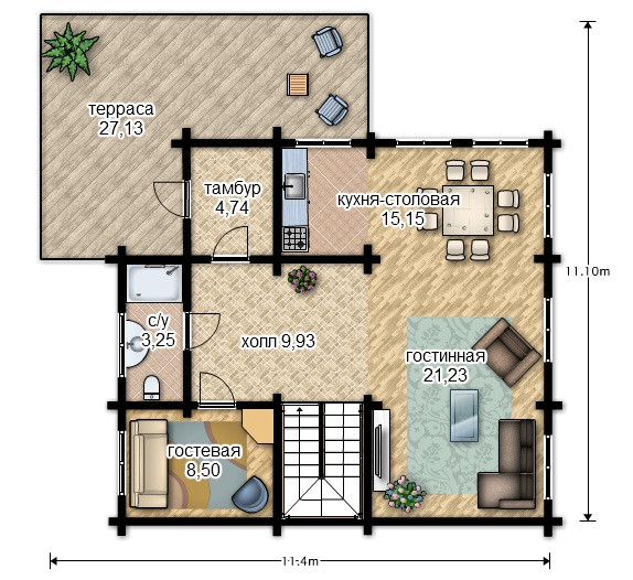 Проекты деревянных домов из руса, план двухэтажного дома и строительство под ключ, проектирование и строительство деревянных домов.