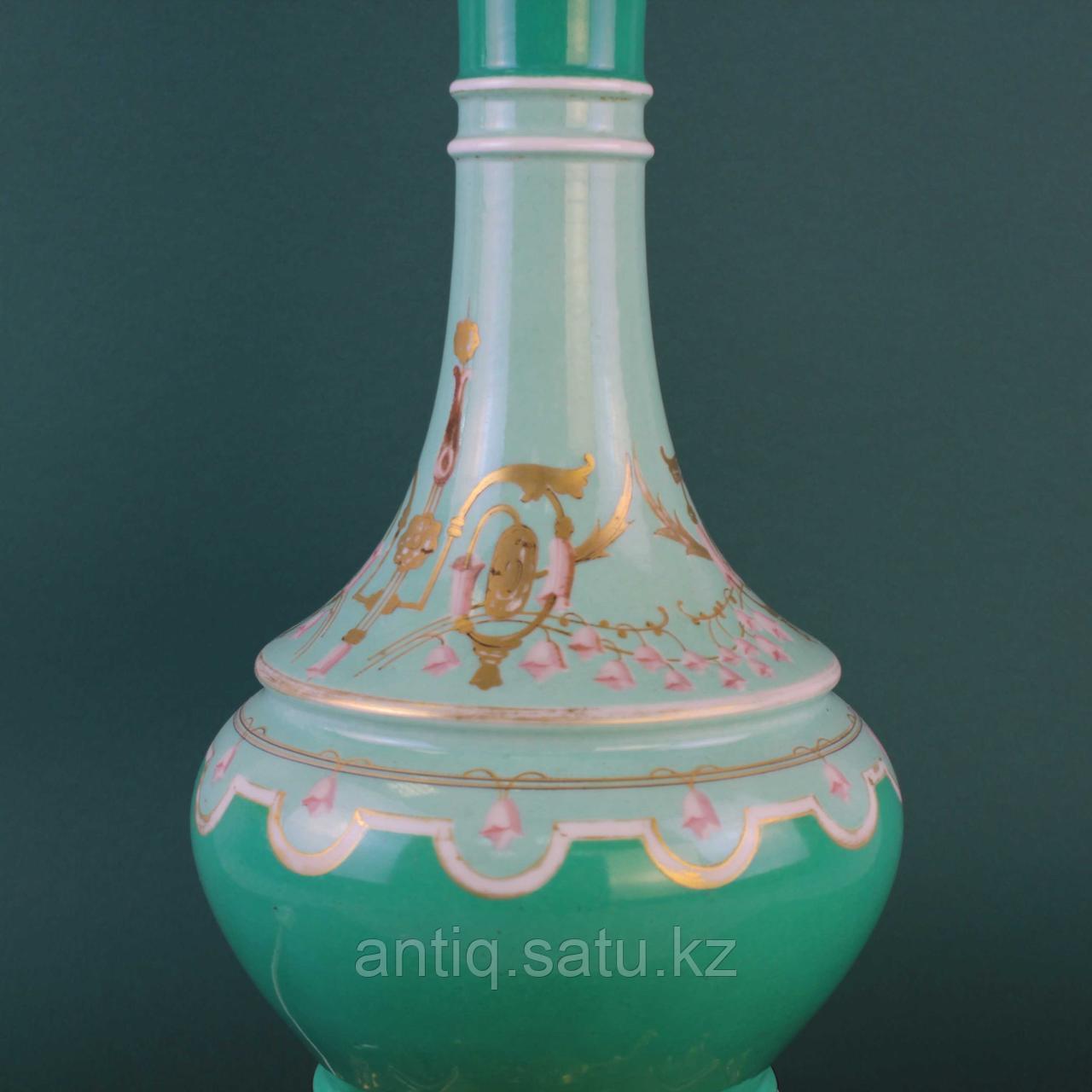 Настольная лампа с зеленым куполом. - фото 3