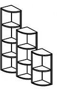 Стеллаж для игрушек и пособий угловой на 3 ячейки ЛЕСЕНКА (400х400х1100 мм) арт. СТЛУ1/1