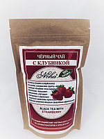 Черный листовой чай с клубникой, 100гр, Индия