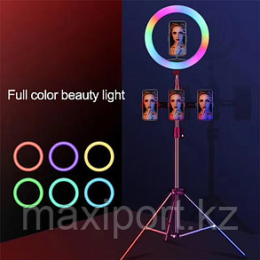 Кольцевой селфи свет 26 Tik tok RGB все цвета со штативом до 2м, фото 2
