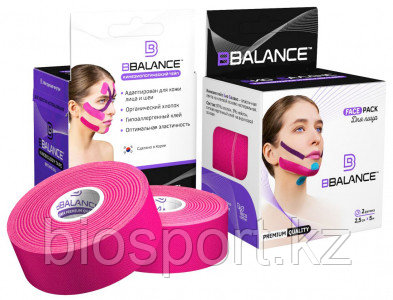 Кинезио тейп для лица, BBTape Face Pack, 2.5 см х 10 м Розовый