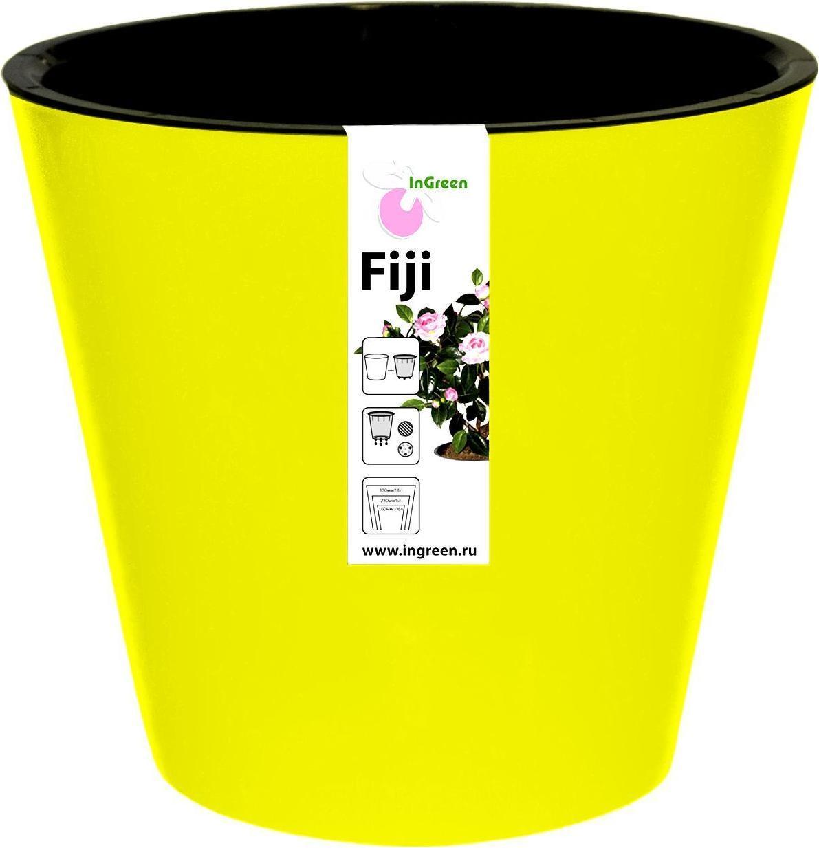 Горшок для цветов Фиджи D 330 мм/16 л на колесиках желтый