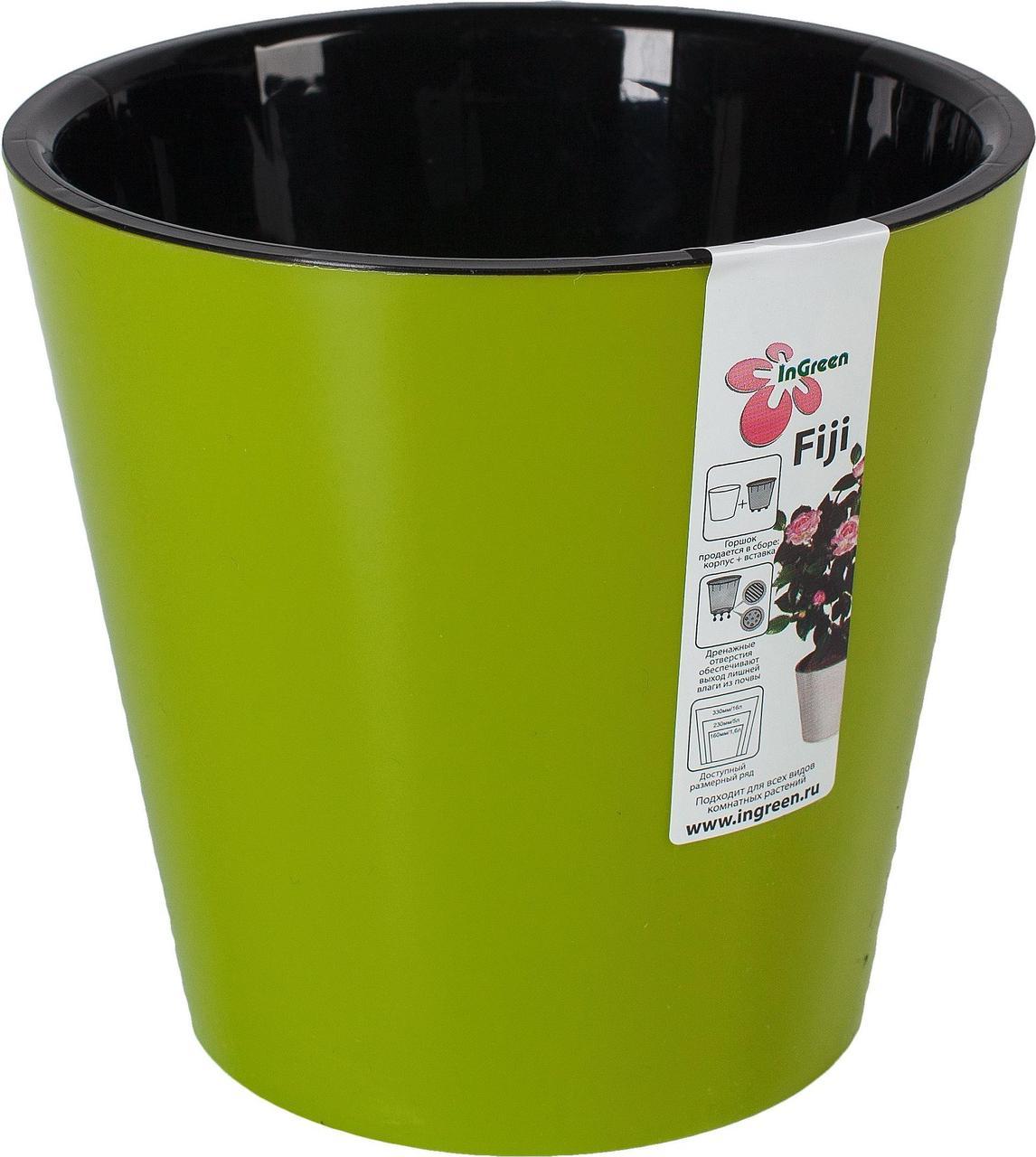 Горшок для цветов Фиджи D 330 мм/16 л на колесиках салатовый