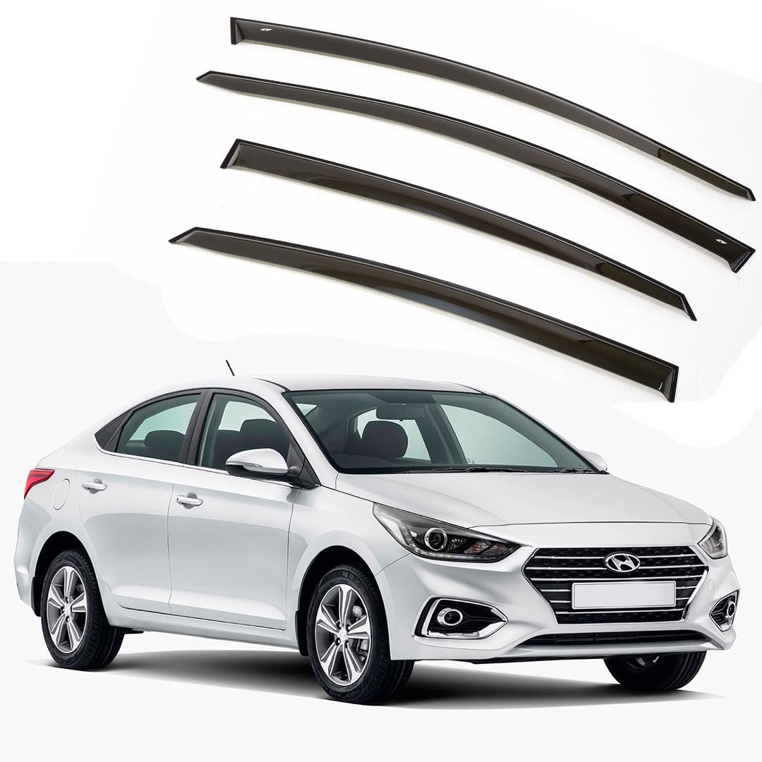 Ветровики дверей (дефлекторы окон) Hyundai Solaris/Accent седан (2017-)
