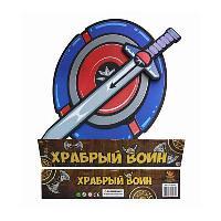 Храбрый воин. Меч в наборе с щитом из вспененной пластмассы (голубой цвет), 65x33x2см